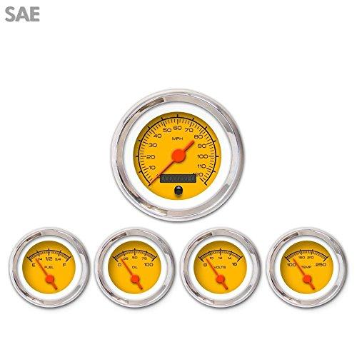 Aurora Instruments 3078 Competition Yellow SAE 5-Gauge Set Orange Vintage Needles, Chrome Trim Rings, Style Kit DIY Install