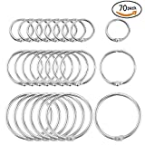 #3: SOTOGO 70 Pieces Book Rings Loose Leaf Binder Ring Key Chain Key Rings,Including 1 Inch 1.2 Inch 1.8 Inch Three Size
