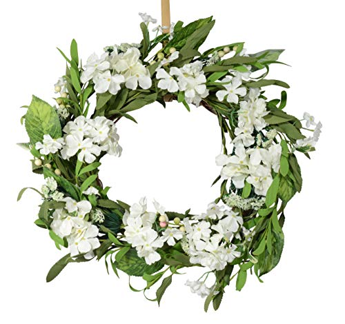 - Ten Waterloo 22 Inch White Artificial Hydrangea Wreath on Natural Twig Base