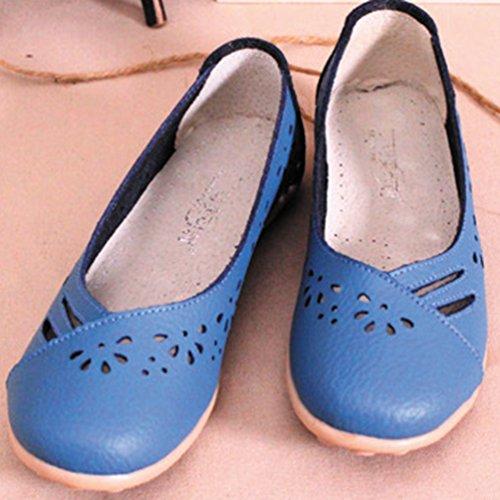 YAANCUN Mujeres Hueca Transpirable Tallado Mocasines De Cuero Loafers Casual Zapatos Zapatillas Como la imagen