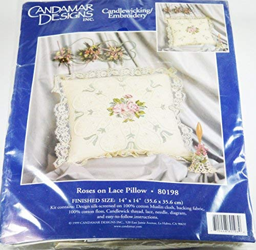 Roses on Lace Pillow Candlewicking Embroidery ()