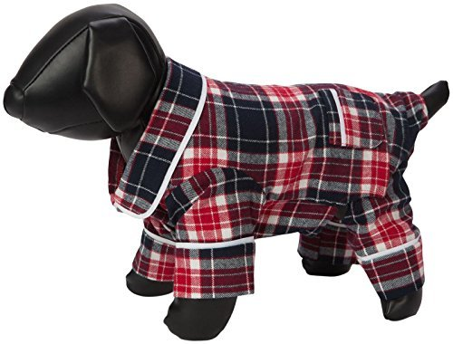 Fab Dog Flannel Dog Pijamas, bluee Plaid, 12 Length by Fab Dog