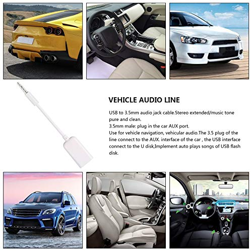 DGD 3.5mm Male AUX Audio Plug Jack To USB 2.0 Female Converter Cord Cable Car MP3/—White()