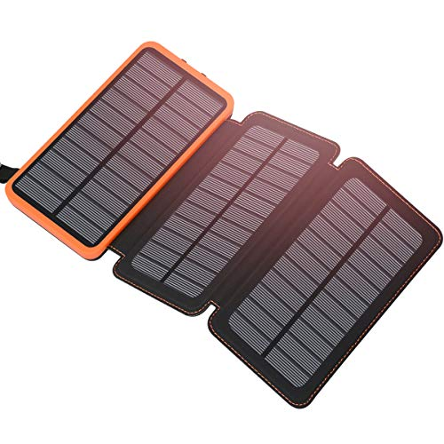 Solar Charger 24000mAh ADDTOP Waterproof Power Bank Dual USB 2.1A Output Portable Phone Battery Pack for All Smartphones