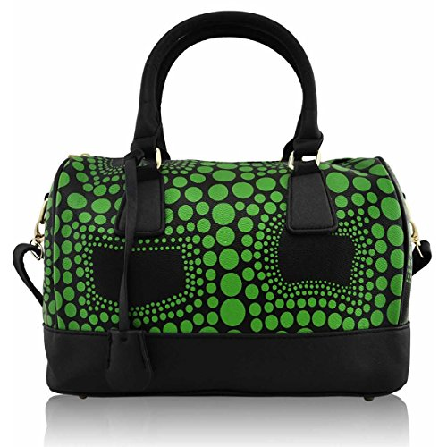 Body Faux London Handbag Shoulder Women Bags Green Medium Bowler Ladies Xardi Leather Polka Cross qTRazqx