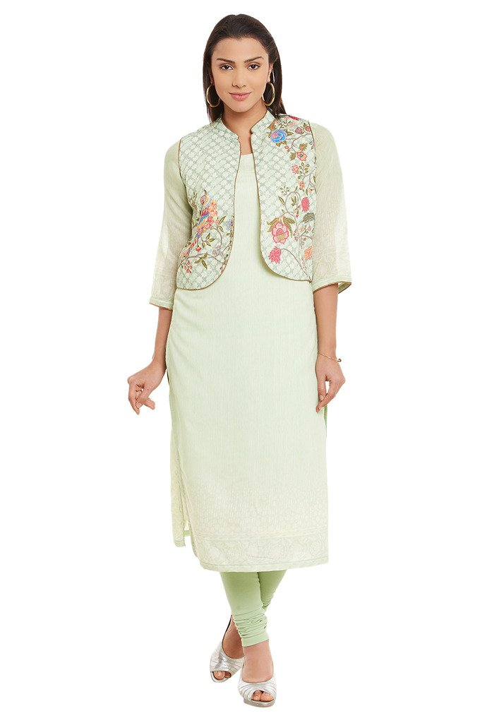 BIBA Women's Polyester Straight Kurta 42 Green