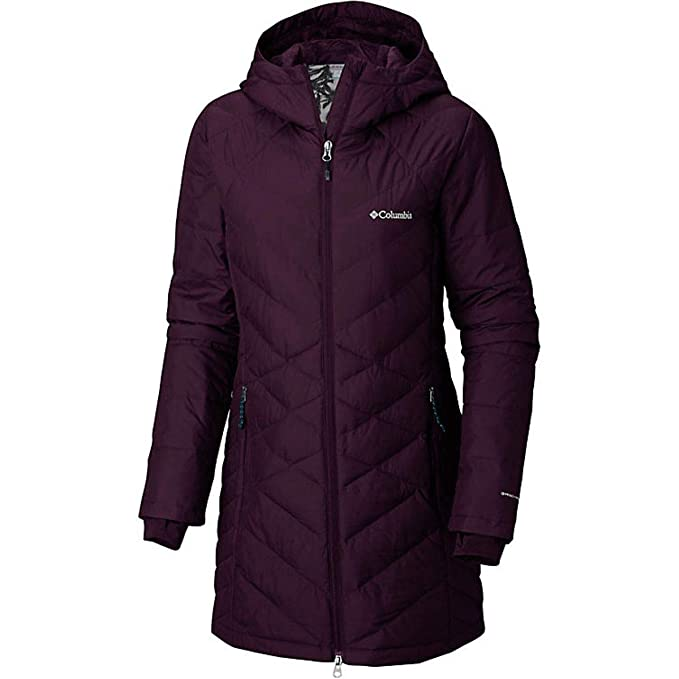 3e563b2d4f0 Columbia Women's Heavenly Long Hooded Jacket Outerwear, Black Cherry,  X-Small