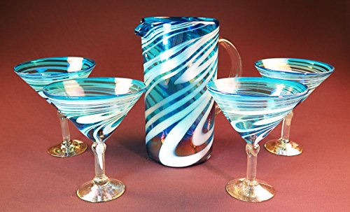 Mexican Margarita/ Martini Glasses and pitcher, Turquoise White Swirl, Hand Blown 15 oz set of 4 by Mexican Margarita Glasses
