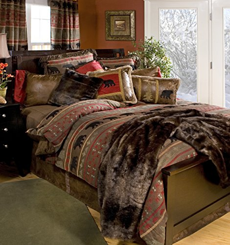 Rustic Western Southwestern Log Cabin Lodge Bear Country Comforter Bedding Set 5PC (King) R4L4002-5