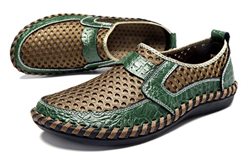Louechy Mens Ocheso Mocassini A Rete Slip-on Scarpe Da Passeggio Scarpe Da Acqua Traspiranti Verde
