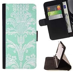 LG Magna / G4C / H525N H522Y H520N H502F H500F (G4 MINI,NOT FOR LG G4)Case , Modelo de flores de la turquesa del papel pintado de la vendimia- la tarjeta de Crédito Slots PU Funda de cuero Monedero caso cubierta de piel