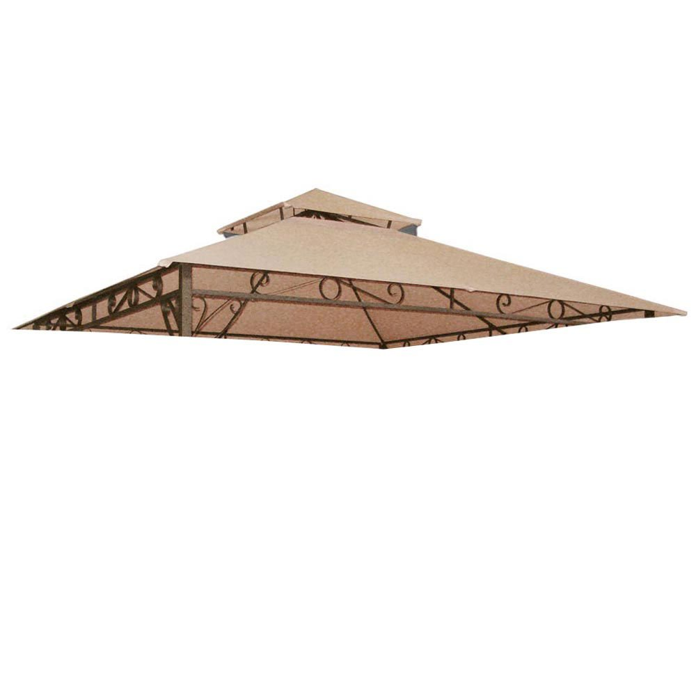 All Weather Heavy Duty 2 Tier Patio Sun Shade 10x10 Ft Gazebo Top Replacement Canopy Top Cover - Tan