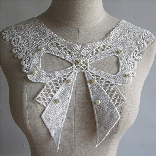 white pearl Embroidered Lace Collar Neckline Venise Applique Embroidery Sewing on Patches Sewing Fabric Accessories YL107