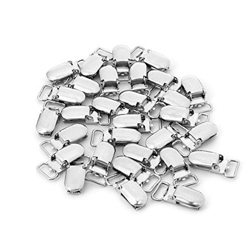 (Kocome 30Pcs Metal Baby Pacifier Clip Suspender Oval Silver Tone Nipple DIY 27x13 mm)