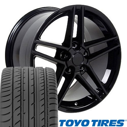 Staggered Wheels Rims (18x10.5/17x9.5 Wheels & Tires Fit Corvette, Camaro - C6 Z06 Style Black Rims - Staggered SET)
