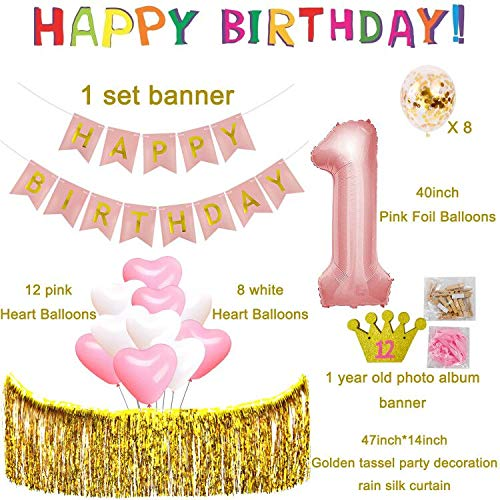 1st Birthday Decorations For Girls Baby First Pink And Gold Theme Party Supplies Giant
