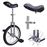 16-in Aluminum Rim Steel Fork Frame Unicycle Chrome w/ Quick Release Seat Clamp Adjustable Saddle Mountain Rubber Tire for Wheel Balance Exercise Train Bike Ride Cycle