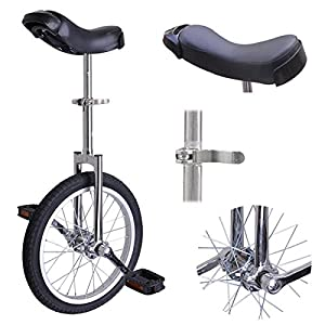 16 in Aluminum Rim Steel Fork Frame Unicycle Chrome w/ Quick Release Seat Clamp Adjustable Saddle Mountain Rubber Tire for Wheel Balance Exercise Train Bike Ride Cycle