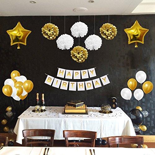 Belle Vous 33 Pezzi Feste di Compleanno Decorazioni Oro e Bianco ,  Compleanno Addobbi Accessori Pon Pon, Palloncini in Lattice e Foil e  Striscioni per