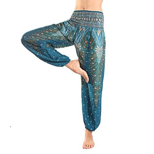 Rita & Risa Women's Elastic Waist Printed Long Pajama PJ Sleep Bottoms Pants Emerald X-Small / US (Halloween Denver Co)