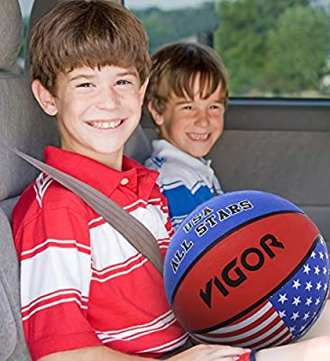 11 inch Rubber Textured Easy Grip Handling for Tournament Fun Toys Games Training Recreation Outdoor Indoor Activity for Men Women Boys Girls Mozlly American Flag USA All Stars Regulation Basketball