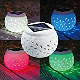 Ceramic Solar Light, LED Solar Ceramic Table Lights,Garden Lights,Filigree Lights,Solar Outdoor Lights Waterproof for Party Home Yard Patio Outdoor Indoor Decoration Night Lamp Color Changing