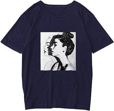 VEMOW Camiseta de Mujer Manga Corta Impresión Blusa Camisa Cuello Redondo Basica Camiseta Suelto Verano Tops Casual T-Shirt Plus: Amazon.es: Ropa y accesorios