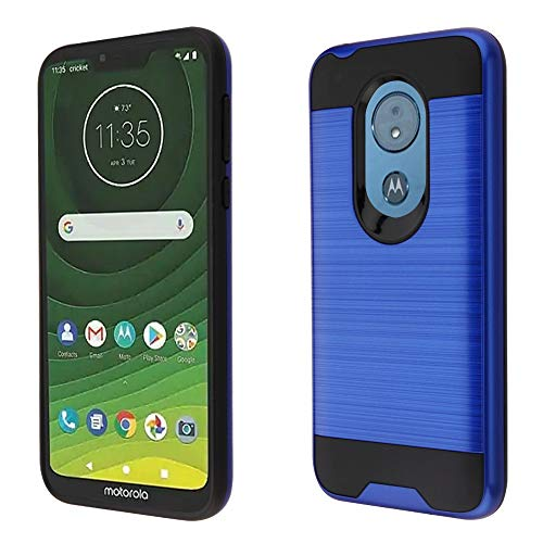 Motorola Moto G7 Power Case, Luckiefind Slim Brush Texture Hybrid Defender Armor Protective Case Cover Accessory (Brush Blue)