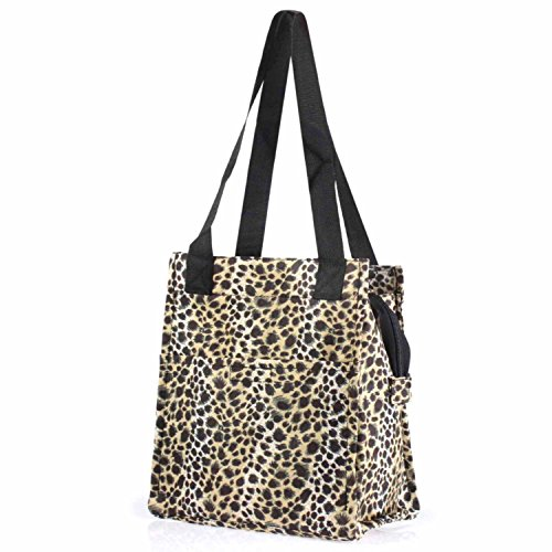 (Zodaca Insulated Lunch Tote Bag, Leopard with Black Trim)