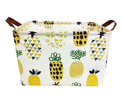 TIBAOLOVER Square Natural Linen & Cotton Fabric Storage Bin with Handles for organizing Kids Toy/Playroom Organization/Toy Bin/Closet/Shelf Baskets/Baby Hamper(Yellow Pineapple)