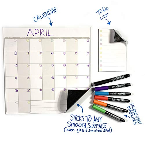 mcSquares Stickies Dry Erase Calendar & to Do List - Sticks to Stainless Steel (Any Smooth Surface) - Monthly Whiteboard for Refrigerator, Mirror, Desk, Door, Window - Smudge-Free Markers Included