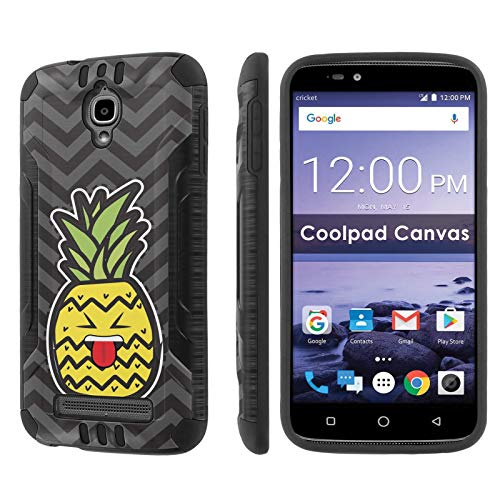 TalkingCase Deluxe Phone Case Cover for Canvas,3636A,Black Premium Hybrid Duo-Layer Case,Armor Exterior,Soft Gel Interior Cover,Pineapple Head Beh Tongue Print,Design and Print in USA ()