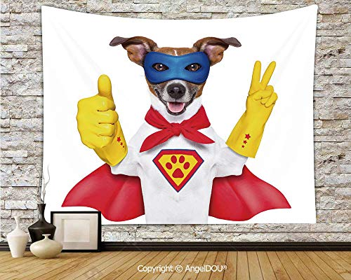 AngelDOU Superhero Tapestries for Bedroom Wall Hanging Super Puppy Hero Dog in Cape and Mask Costume Humor Funny Cute Picture Decorative Polyester Home Improvement.W59xL51.2(inch)]()