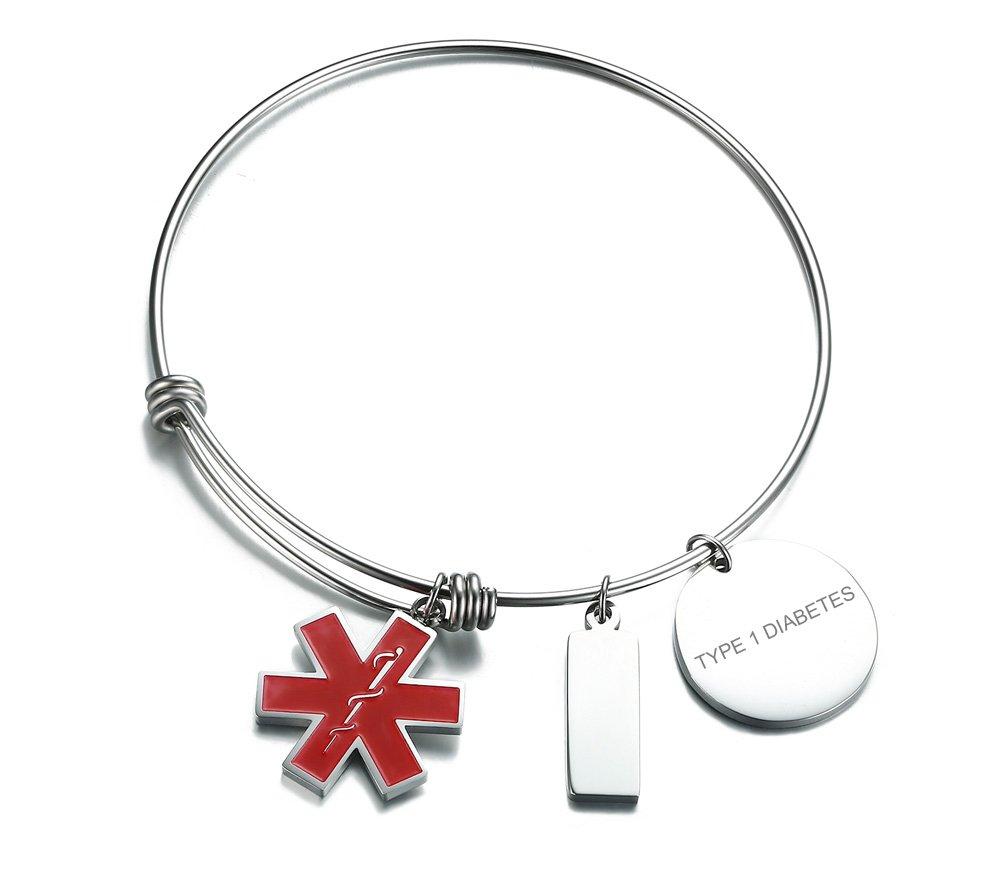 VNOX TYPE1DIABETES-Girl's Stainless Steel Medical Alert ID Charms Expandable Adjustable Bangle Bracelet