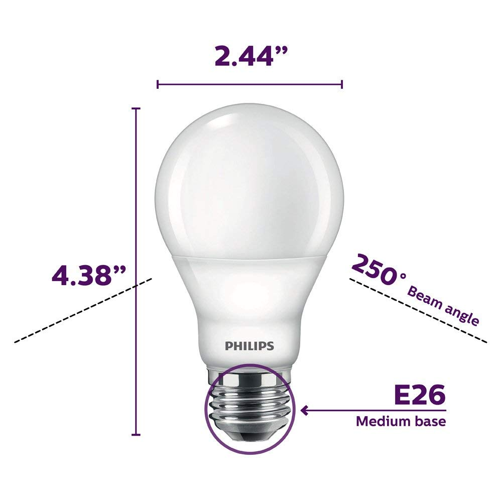 60-Watt Equivalent E26 Base 4-Pack Daylight Philips LED Dimmable A19 Light Bulb: 800-Lumen Renewed 5000-Kelvin Frosted 9-Watt