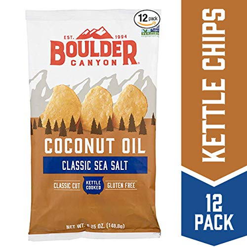 Boulder Canyon Coconut Oil Kettle Cooked Potato Chips, Sea Salt, 5.25 oz. Bag, 12 Count - Gluten Free, Crunchy Chips Cooked in 100% Coconut Oil, Perfect for Dipping, Great for Lunches or Snacks