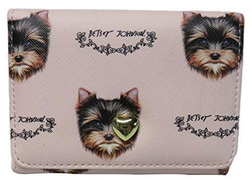 Betsey Johnson Flap Clutch Compact Puppy Dog Wallet Pink
