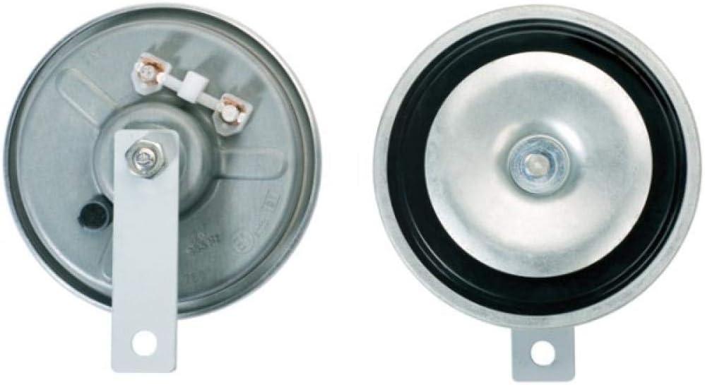 HELLA 3BA 002 768-382 Bocina - B36 - 24V - 116dB (A) - Rango de frecuencia: 335Hz - sonido grave - Color de carcasa: gris - Conexión de enchufe plano