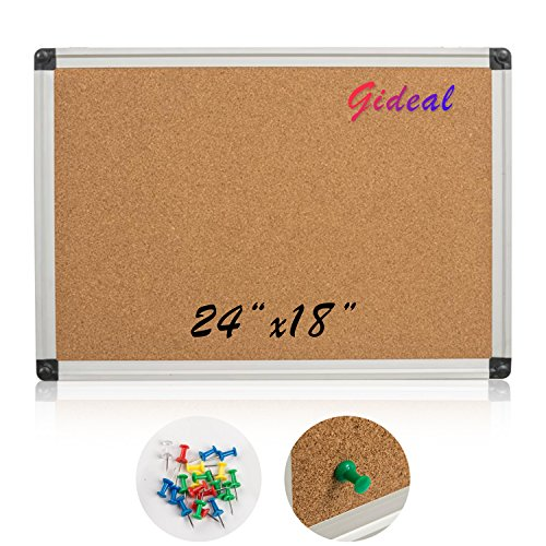 Gideal Notice Board Cork Notice Board 24'' x 18 ''Cork Bulletin Board DD1 by Gideal