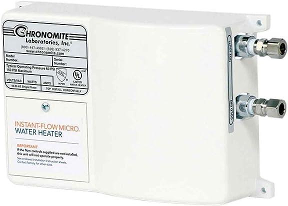 Chronomite M-20L 240 HTR 110F 240-Volt 20-Amp Instant-Flow Micro Low Flow Tankless Water Heater, 110-Degree Preset