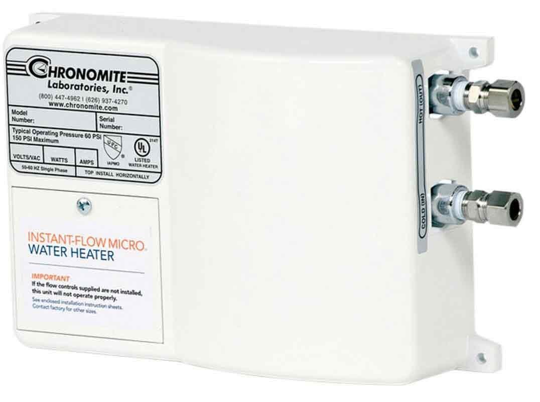 Chronomite M-20L/208 HTR 110F 208-Volt 20-Amp Instant-Flow Micro Low Flow Tankless Water Heater, 110-Degree Preset