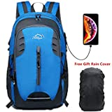 lingvi Hiking backpack 30l Casual Camping Trekking Rucksack for Cycling Travel Climbing Mountaineer Outdoor Sport (Blue USB)