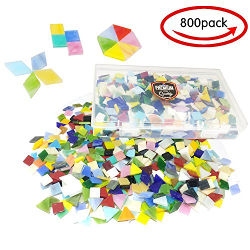 800PCS Mixed Color Mosaic Tiles,Non-Transparent Mosaic Glass, Stained Glass Mosaic Pieces with Organizer Box for DIY Crafts Home Decoration, Square Shape, Triangle, rhombus by Stwie