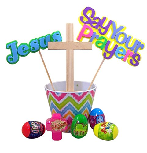 Religious Easter Basket with Arts and Crafts Cross and Inspirational Eggs
