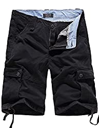 SSLR Men's Summer Cotton Cargo Shorts (29, Orange Red)