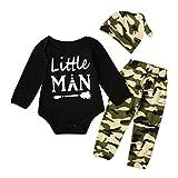 Newborn Infant Baby Boys Little Man Funny Letter Romper Camouflage Pants Hat Outfits Clothes Bodysuit Set