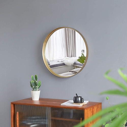 VINGLI 30-inch Gold Round Wall Mirror