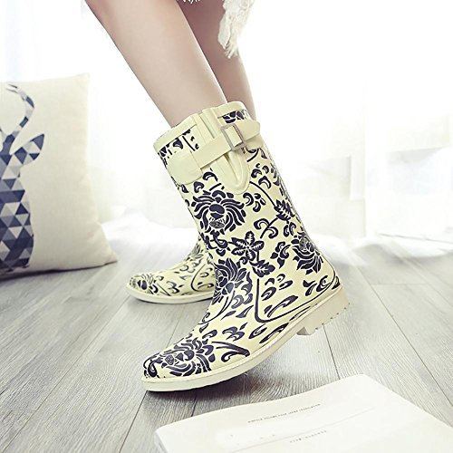 and white Chinoiserie Puddles blue Boot Women's natural SONGYUNYAN women Rain rubber wCF44q