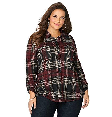 -AVENUE Women's Embellished Pocket Plaid Shirt, 18/20 Merlot