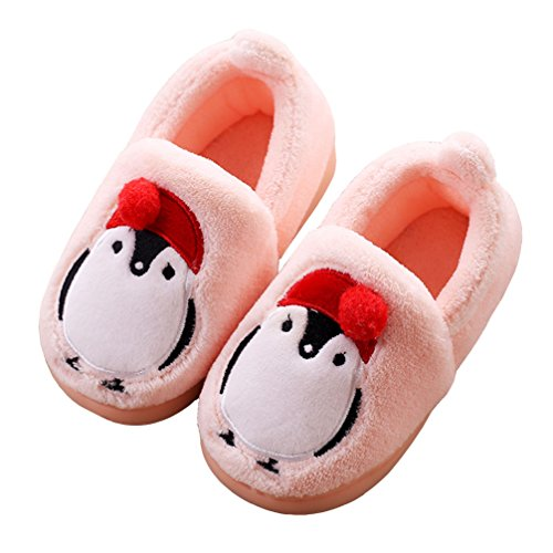 - HiEase Boy's Girl's Lovely Cartoon Penguin Indoor Outdoor Plush Slippers (Toddler/Little Kid) (8-9 M US Toddler, Pink)